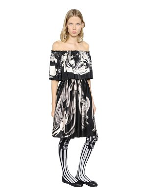 CLAIRE BARROW Ruffled & printed satin dress