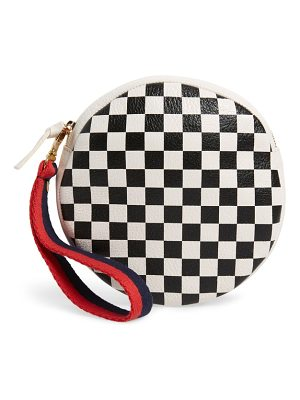 Clare V. checkered leather circle clutch