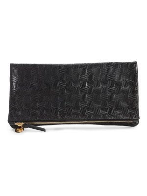 Clare V. embossed leather foldover clutch