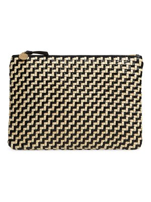 Clare V. flat woven leather clutch