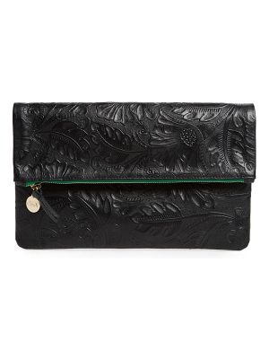 Clare V. flower embossed foldover leather clutch