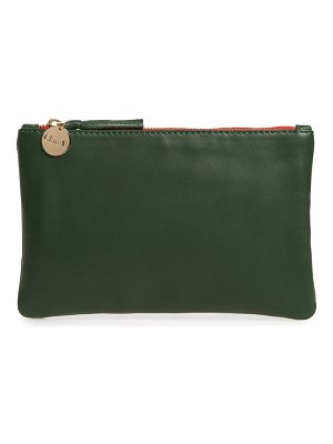 Clare V. leather zip top clutch