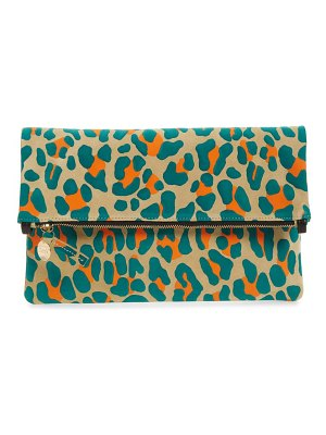 Clare V. leopard print suede foldover clutch