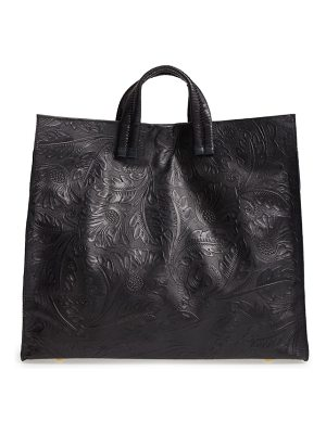Clare V. simple flower embossed leather tote