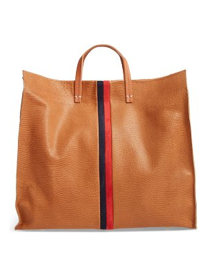 Clare V. simple lizard embossed leather tote