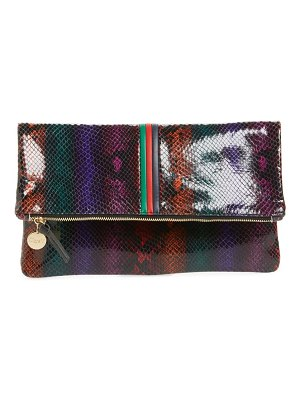 Clare V. snake embossed leather foldover clutch