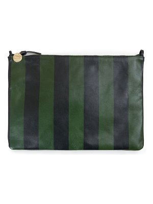 Clare V. stripe leather flat clutch