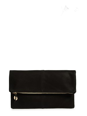 Clare V. textured leather foldover clutch