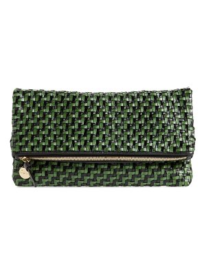 Clare V. woven leather foldover clutch
