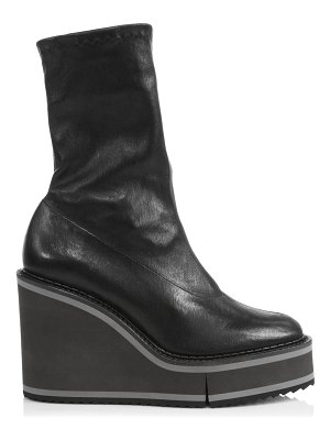 CLERGERIE bliss 4 leather platform wedge sock boots