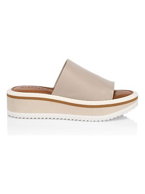 CLERGERIE fast 5 leather platform wedge mules