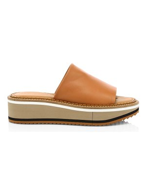 CLERGERIE fast leather flatform mules