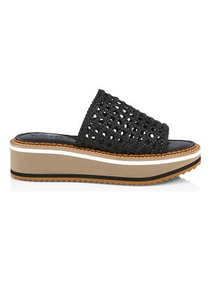 CLERGERIE fausta woven leather platform wedge mules