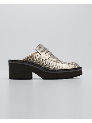CLERGERIE PARIS Aliasco Snake-Print Penny Loafer Mules