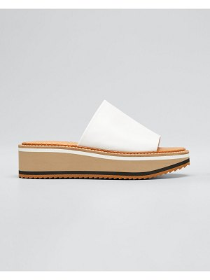 CLERGERIE PARIS Leather Wedge Slide Sandals