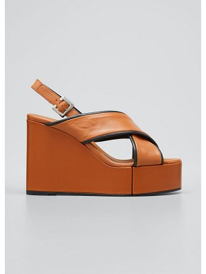 CLERGERIE PARIS Mirane Crisscross Bicolor Wedge Platform Sandals