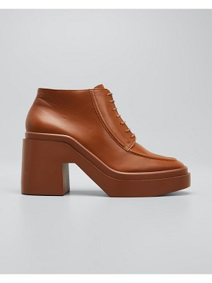 CLERGERIE PARIS Nadia Leather Lace-Up Loafer Booties