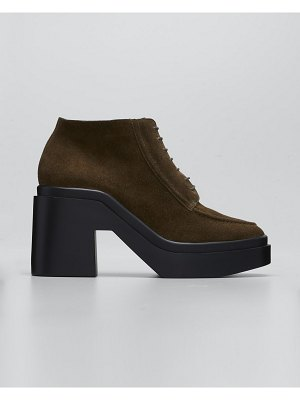 CLERGERIE PARIS Nadiac Suede Lace-Up Loafer Booties