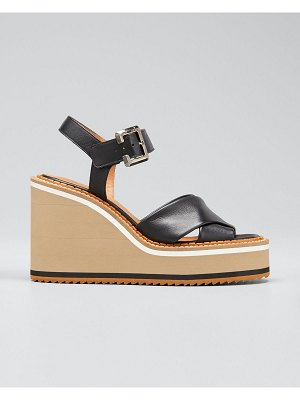 CLERGERIE PARIS Noemie Crisscross Leather Wedge Sandals