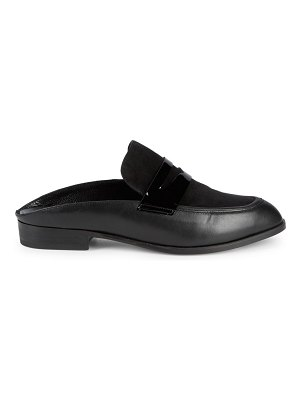 CLERGERIE Suede & Patent Leather Backless Penny Loafers