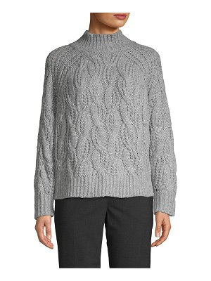 Clich Cable-Knit Raglan-Sleeve Mockneck Sweater