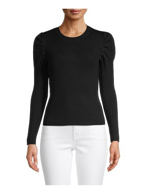 Clich Puff-Sleeve Ribbed Pullover