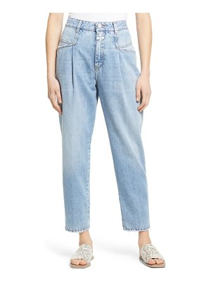 Closed pearl high waist pleated nonstretch straight leg jeans