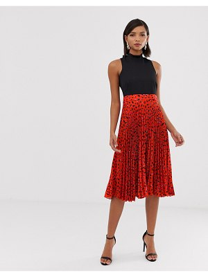 Closet London 2 in 1 high neck skater dress with pleated skirt in red fleck print