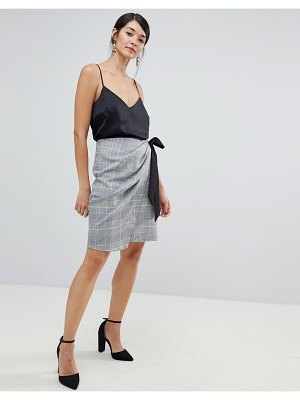 Closet London asymmetric wrap skirt with tie detail in check print