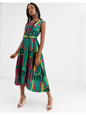 Closet London belted high low midi dress in gold multi