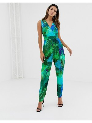 Closet London closet green floral cross over jumpsuit