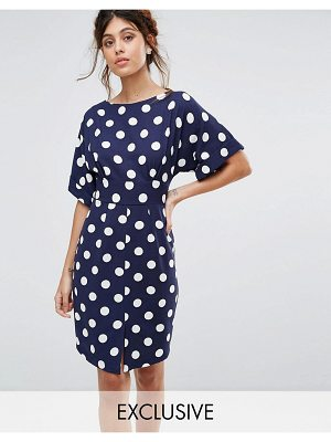 Closet London kimono sleeve midi dress with tie back detail and split front