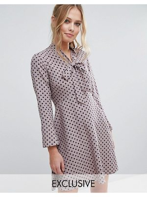 Closet London Closet Polka Dot Dress with Pussybow and Fluted Sleeve