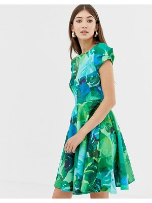 Closet London closet print cap sleeve skater dress