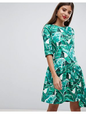Closet London drop hem tropical print dress