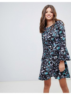 Closet London flute sleeve printed skater dress