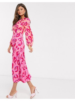 Closet London gathered midaxi dress in contrast leopard-pink