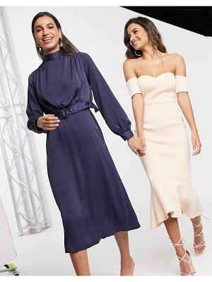 Closet London high neck belted midi dress in navy