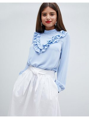 Closet London high neck blouse with frill v