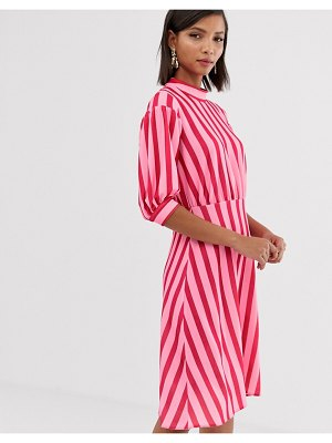 Closet London high neck midaxi skater dress in contrast candy stripe