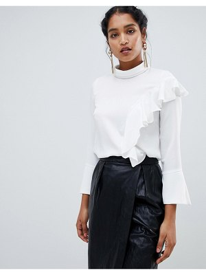 Closet London long sleeve top with frill detail