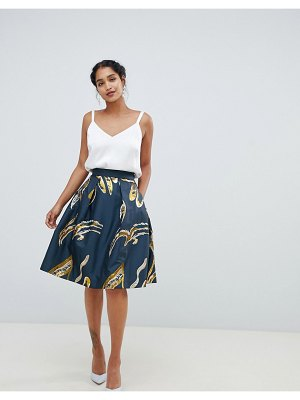 Closet London metallic floral skater skirt
