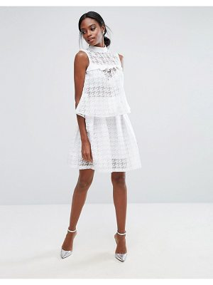 Closet London Mini Skirt in Sheer Houndstooth Co-ord