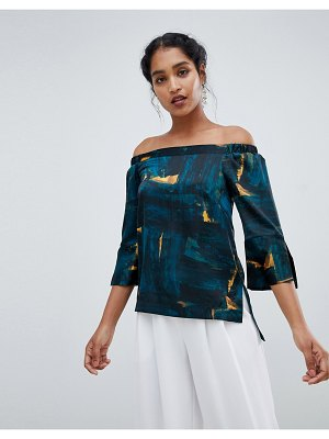 Closet London off the shoulder printed top