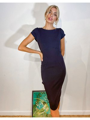 Closet London pencil dress with ruched cap sleeve in navy