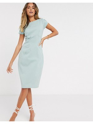 Closet London pencil dress with ruched cap sleeve in sage-green
