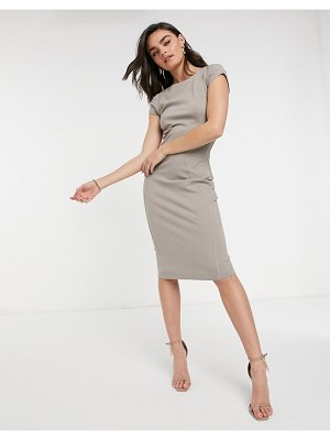 Closet London pencil dress with ruched cap sleeve in stone-cream