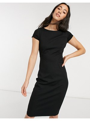 Closet London pencil dress with ruched cap sleeves in black