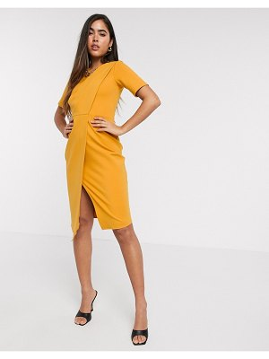 Closet London pleated detail wrap dress in marigold-yellow