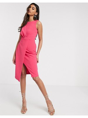 Closet London pleated front pencil dress in fuchsia-pink